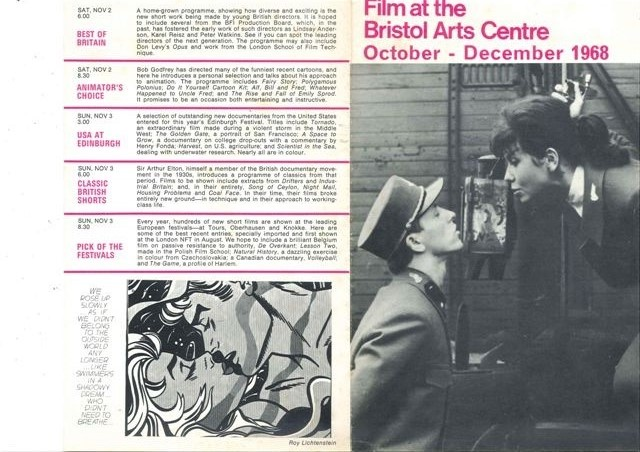 Film at Bristol Arts Centre Oct to Dec 1968 page 1 small