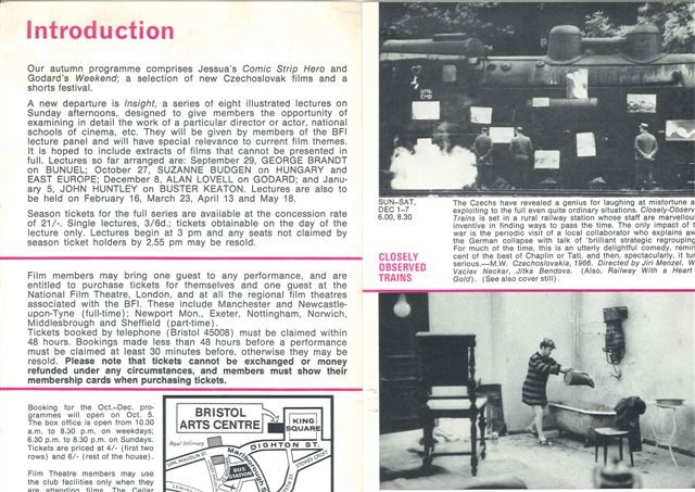 Film at Bristol Arts Centre Oct to Dec 1968 page 2 small
